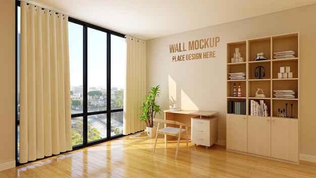 3d壁モックアップを備えたモダンで素朴なワークスペース