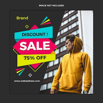 Modern sale banner and instagram square post template design