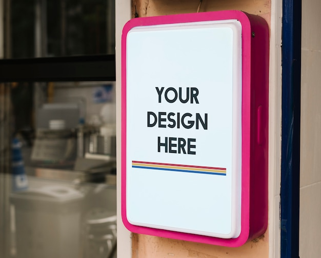 Modern shop sign mockup with bold pink frame