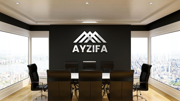 Современный серебряный макет логотипа в офисе конференц-зала с черной стеной