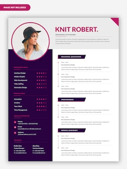 Modern simple curriculum vitae template design
