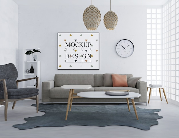 Modern and simple living room design with mockup frame