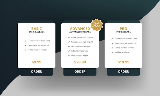 Modern simple pricing table
