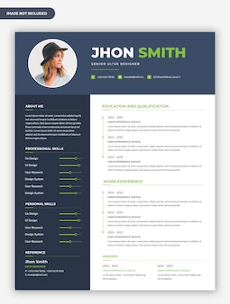 Modern simple resume cv template design
