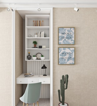 Modern and simple study room design with mockup frame
