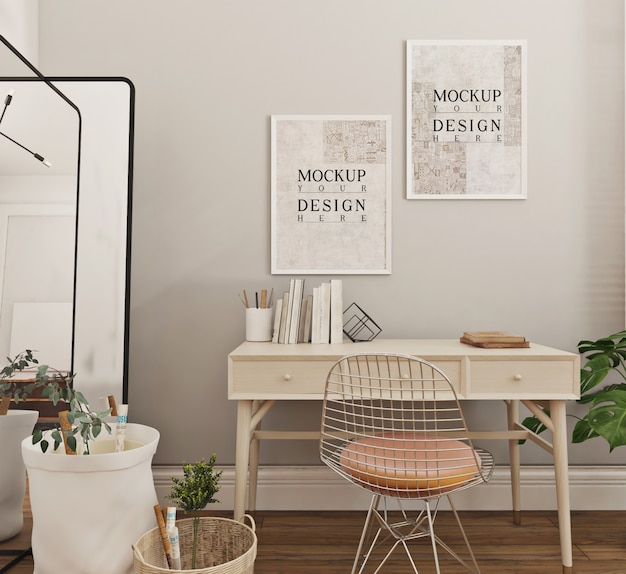 Modern and simple study room design with mockup poster frame