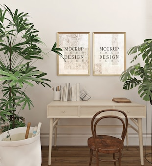 Modern and simple study room with mockup frames