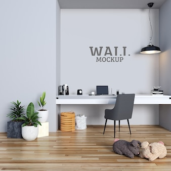 Modern simple study room with wall mockup
