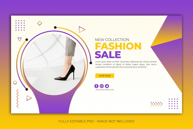 Modern simple web banner template shoes