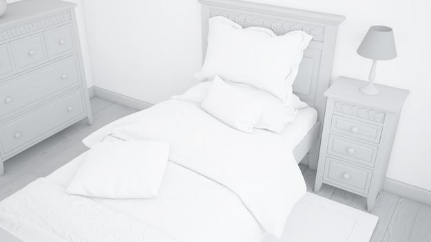 Mockup moderno letto singolo in camera da letto luminosa