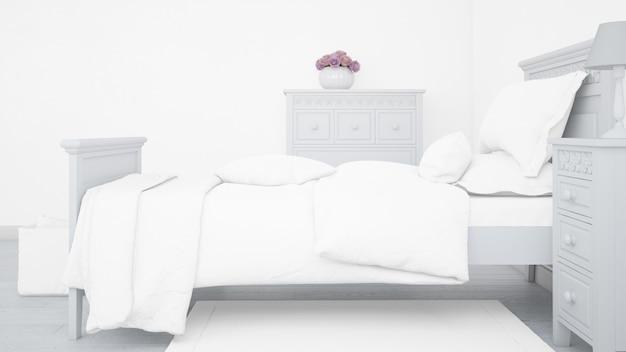 明るい寝室のモダンなシングルベッドモックアップ