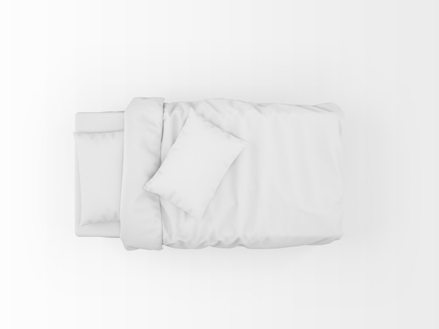 Modern single bed mockup isolated on top view