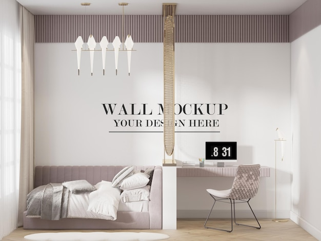 Modern single bedroom wall mockup in 3d rendering