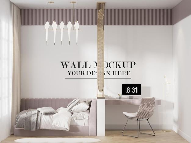 Современный макет стены спальни в 3d рендеринге