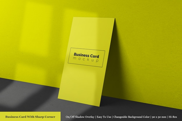 Modern single sharp corner clean business card mock up with shadow overlay