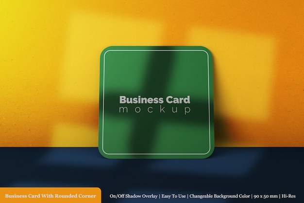 Modern single square rounded corner business card mockup in front view
