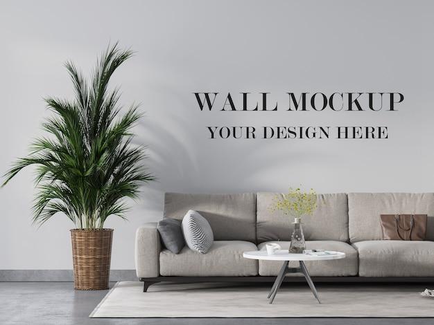 Современная гостиная с макетом пустой стены