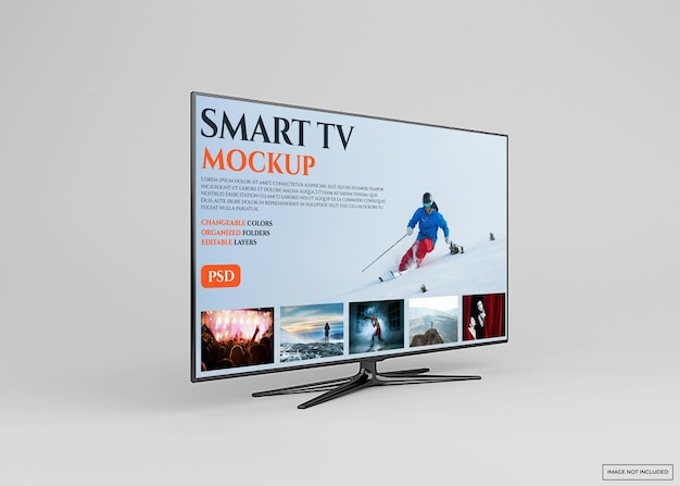 Modern smart tv mockup design in 3d rendering isolated