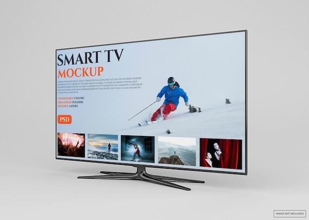 分離された 3 d レンダリングで現代のスマート テレビ モックアップ デザイン