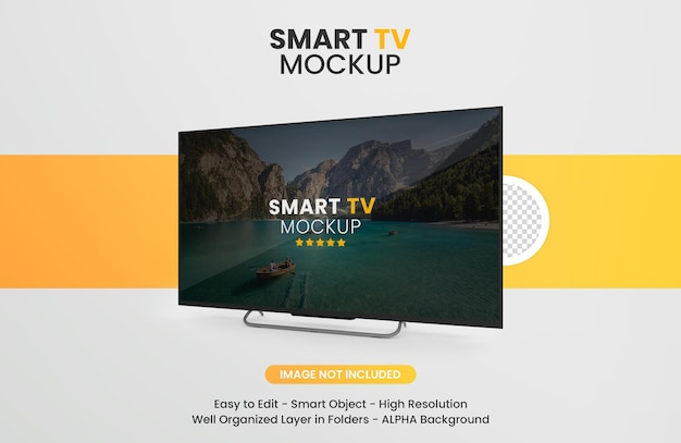 Modern smart tv mockup isolated