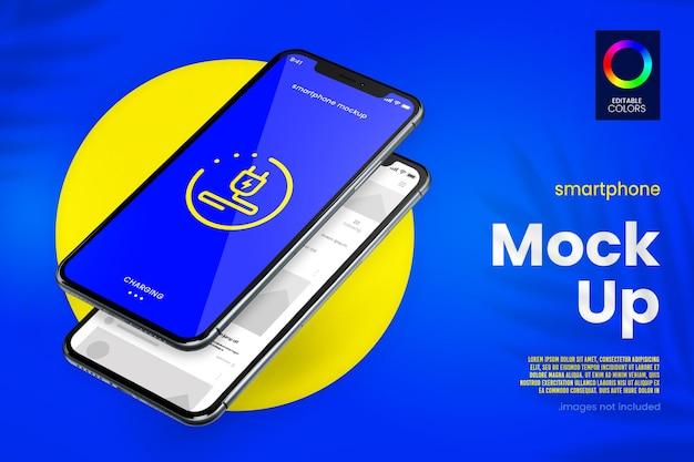 最新のスマートフォンとアプリのモックアップデザイン