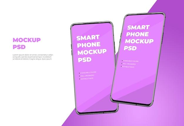 現代のスマートフォンのモックアップテンプレートデザイン