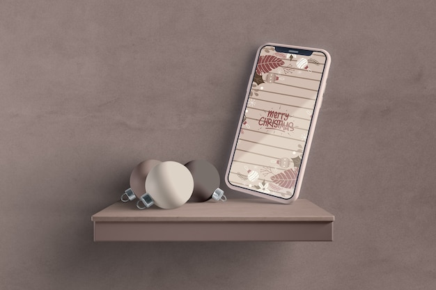 Modern smartphone on shelf mock-up