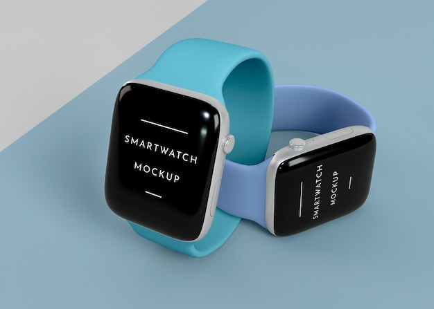 Modern smartwatches with screen mock-up assortment