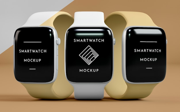 Modern smartwatches with screen mock-up