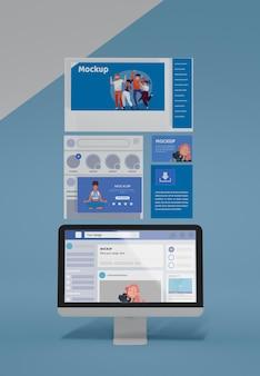最新のソーシャルメディアアプリインターフェースのモックアップ