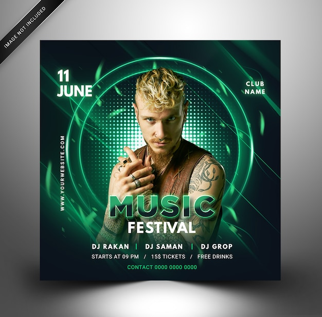 Modern social media post music party template