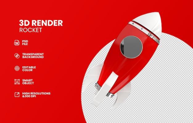 3dレンダリングで分離された現代の宇宙ロケット