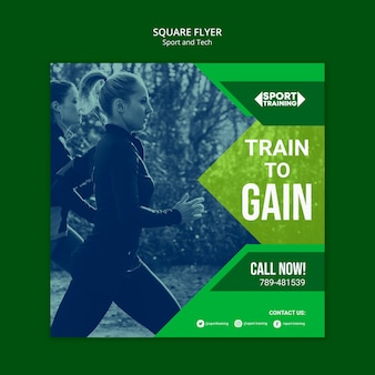 Modern sport and tech square flyer template