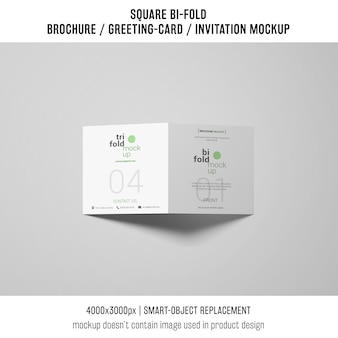 Modern square bi-fold brochure or greeting card mockup