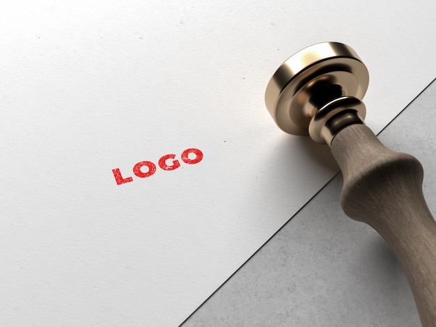 Modern stamped logo mockup