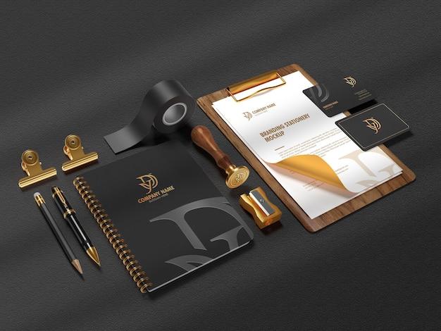 현대 문구 브랜딩 모형 장면