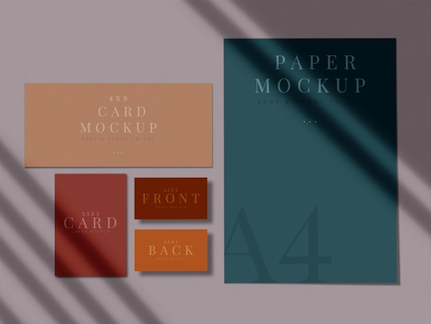 Modern stationery mock-up design for branding, corporate identity, graphic designers presentations with shadow overlay