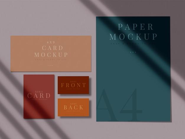 Cancelleria moderna design mock-up per branding, identità aziendale, presentazioni di grafici con sovrapposizione di ombre