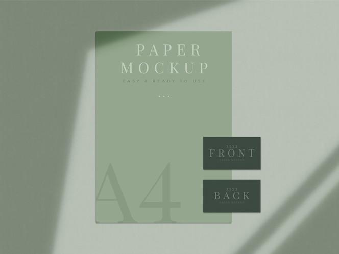브랜딩, 기업 정체성, 그림자 오버레이가있는 그래픽 디자이너 프레젠테이션을위한 현대 문구 목업 디자인