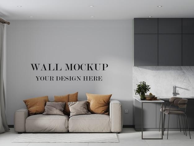 モダンなスタジオルームの空の壁のモックアップ