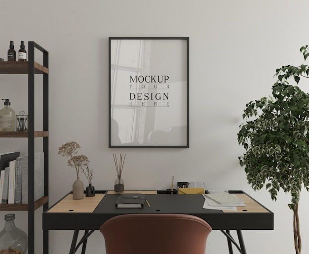 Modern study room with desk and mockup poster 3d rendering