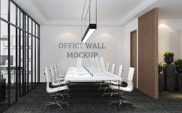 Modern style design workspace wall mockup