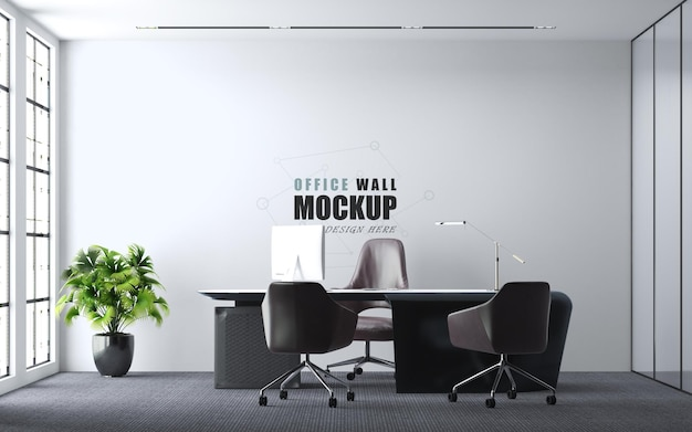 Modern style office design wall mockup