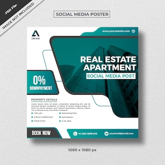Modern style real estate square flyer template design