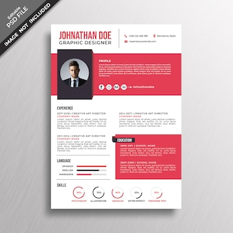 Modern style red resume template design