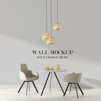 Modern style room wall mockup with ceiling lamps and furniture
