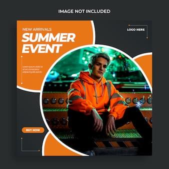 Modern summer event social media post template psd