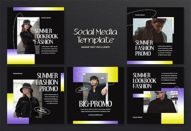 Баннер в социальных сетях modern summer fashion и шаблон сообщения в instagram