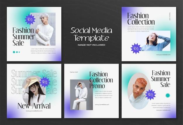 Баннер в социальных сетях modern summer fashion и шаблон сообщения в instagram Premium Psd
