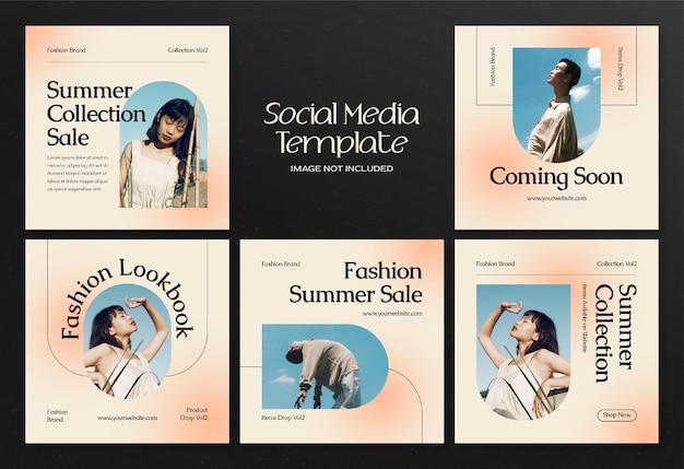 Modern summer fashion social media banner and instagram post template